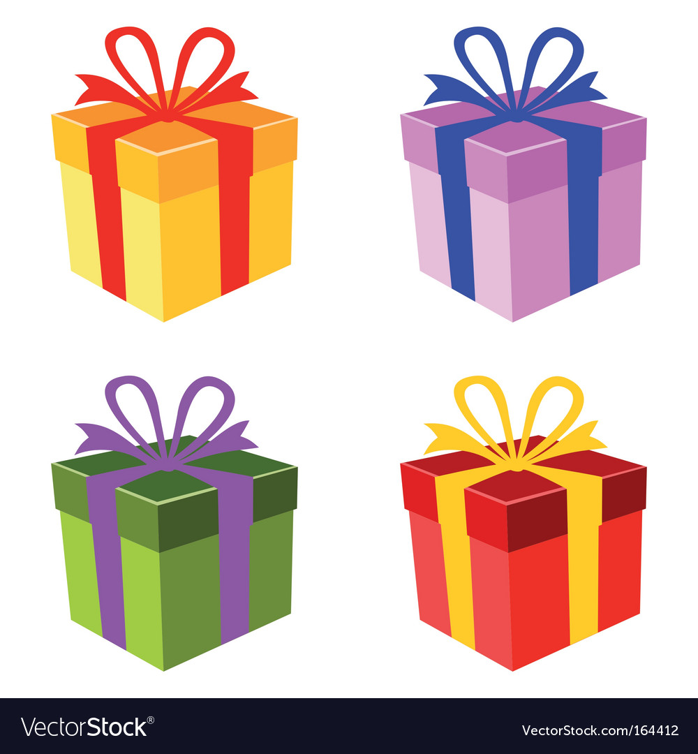 colorful gift box set vector