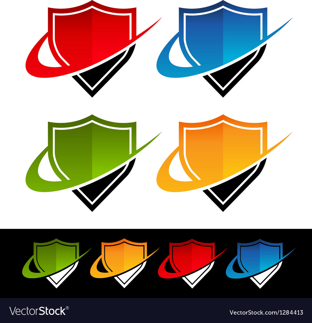 Swoosh shield icons vector