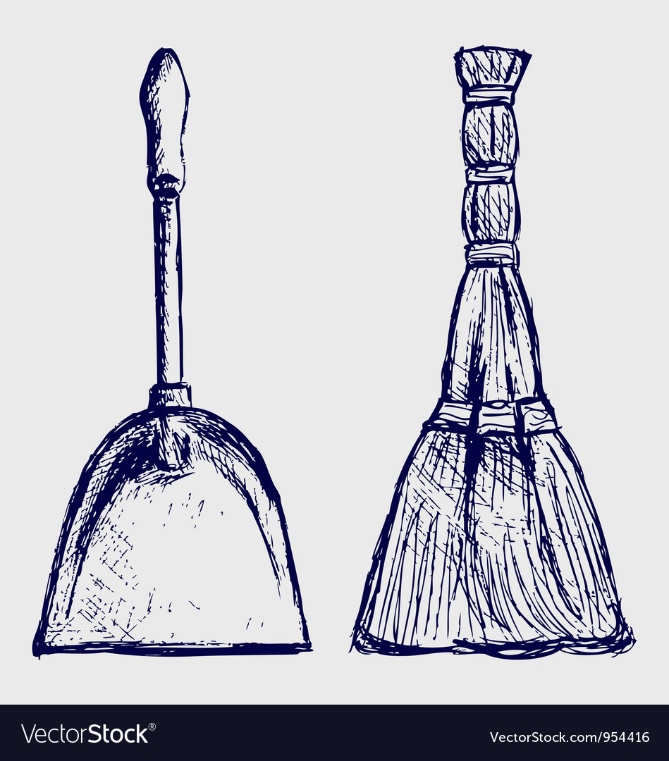 Broom and dustpan vector
