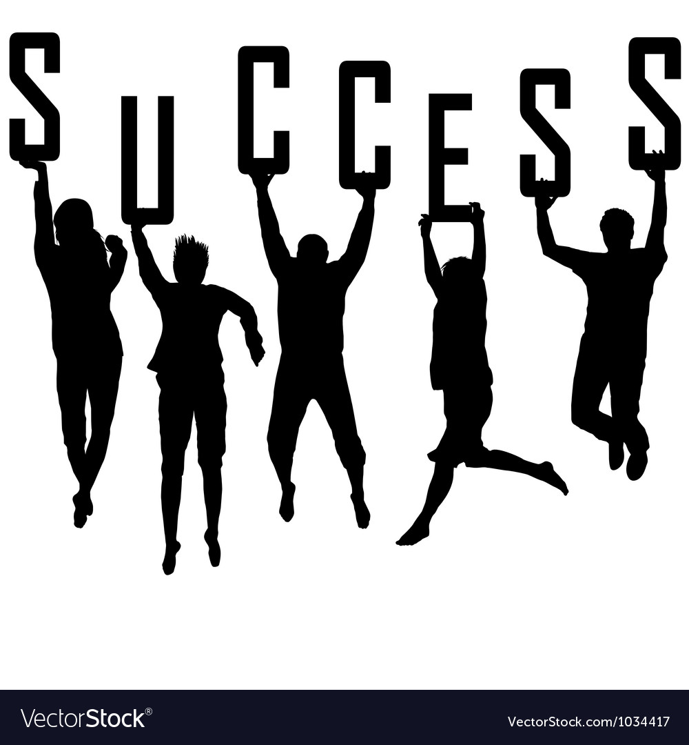 Success concept with young team silhouettes vector