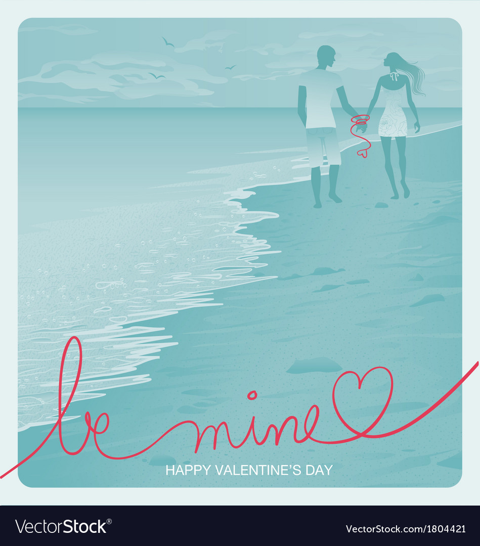 Beach couple vector