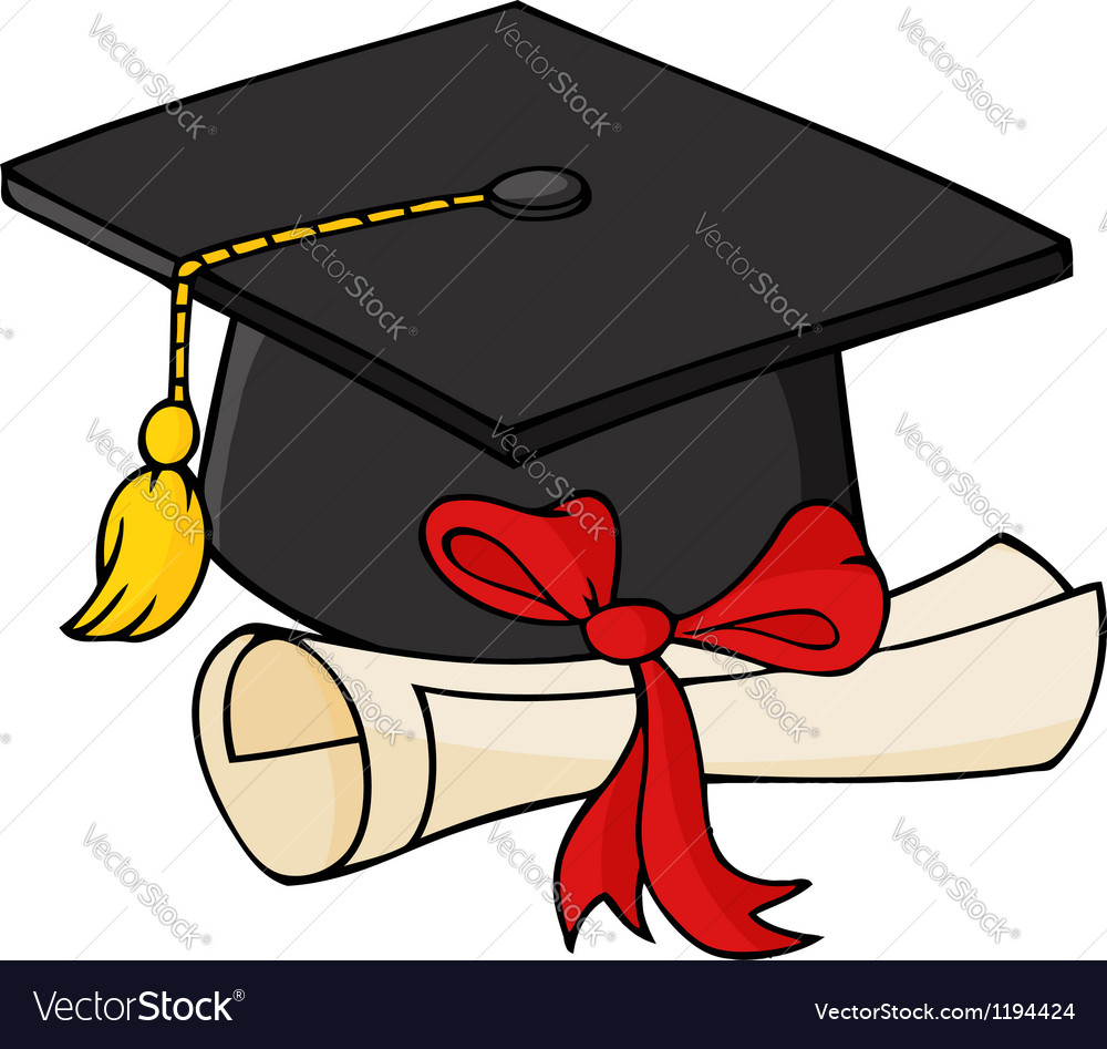 Graduate black cap with diploma vector