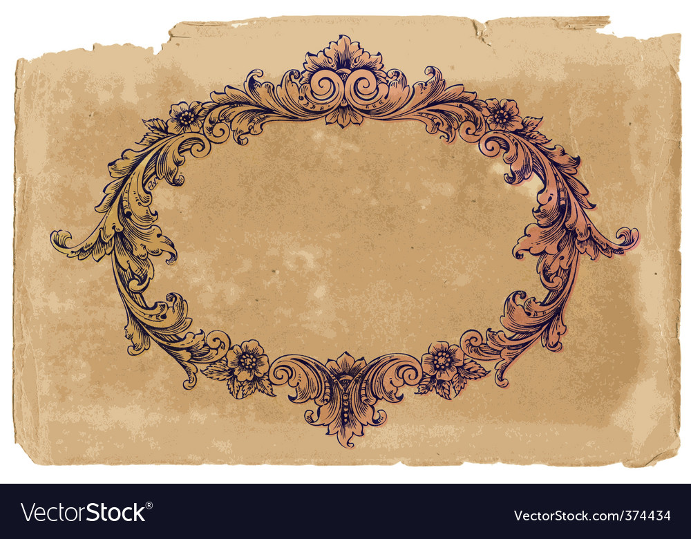 Victorian frame on vintage paper vector
