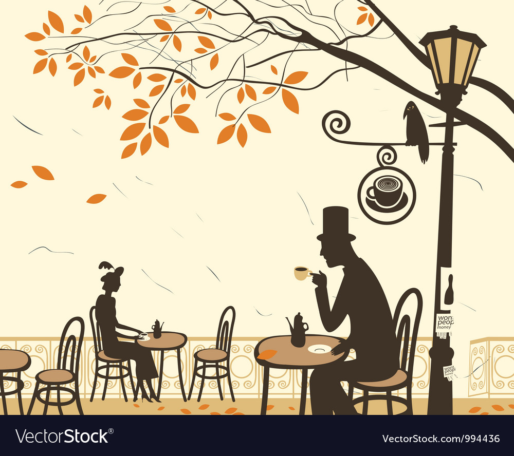 Autumn cafe vector