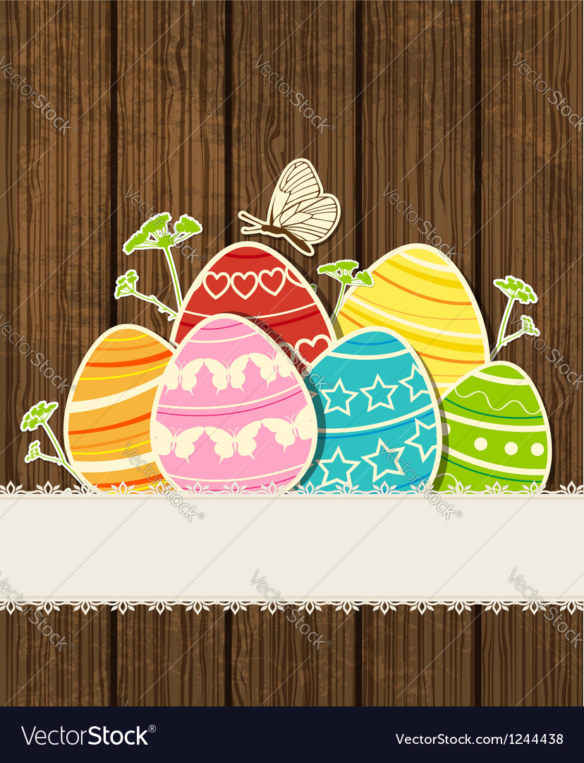Background easter eggs vector