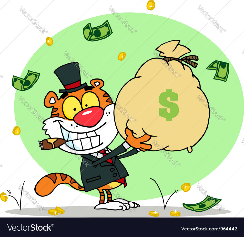 Successful tiger holding up a bag of money vector