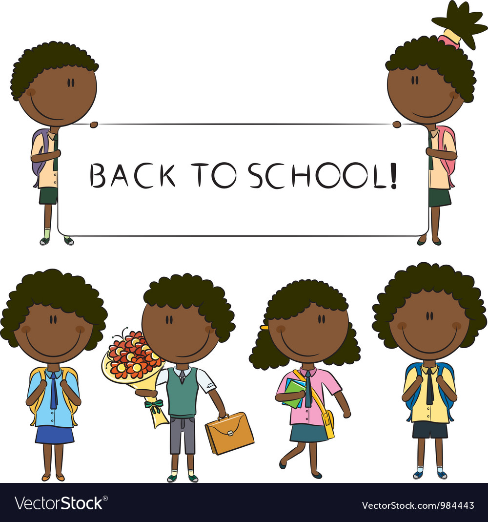 African-american school kids vector
