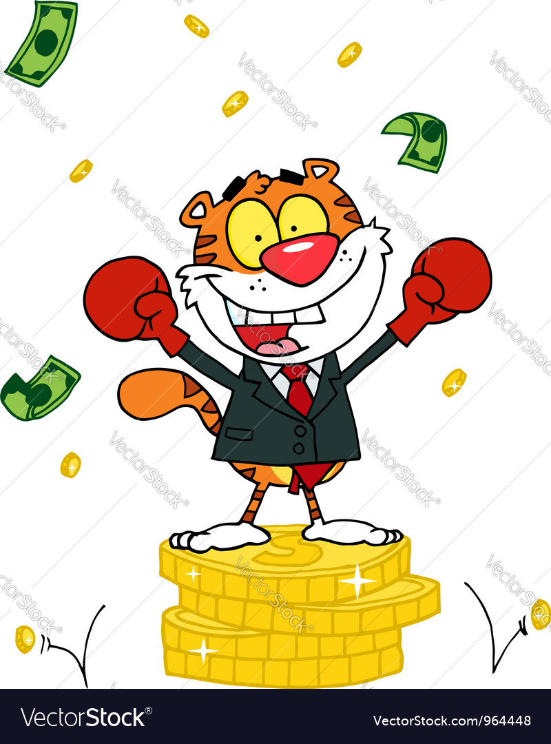 Happy tiger alated with victory vector