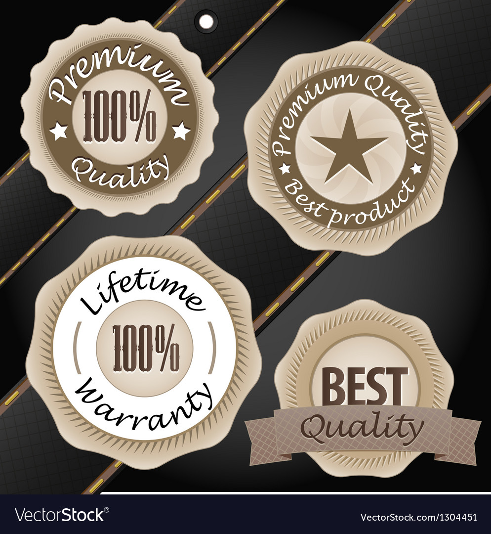Quality labels vintage style collection vector