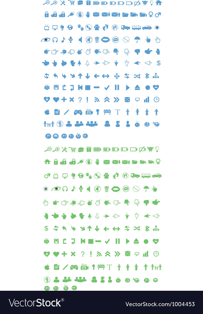 Blue and green icons vector
