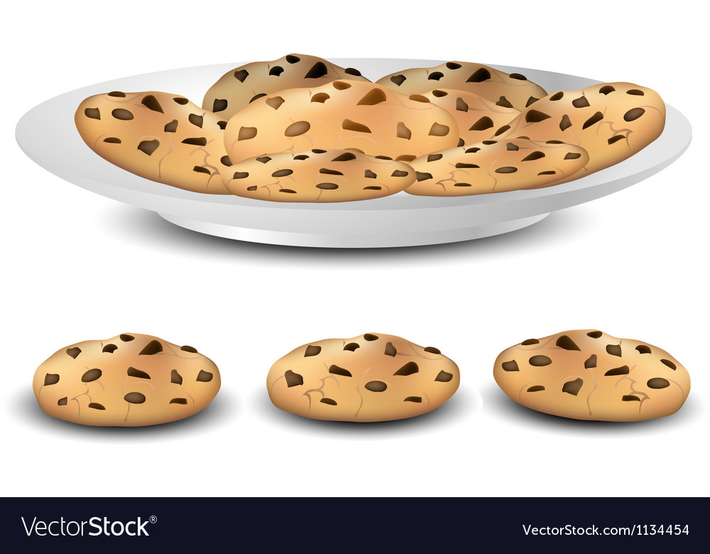 Cookies on a plate vector