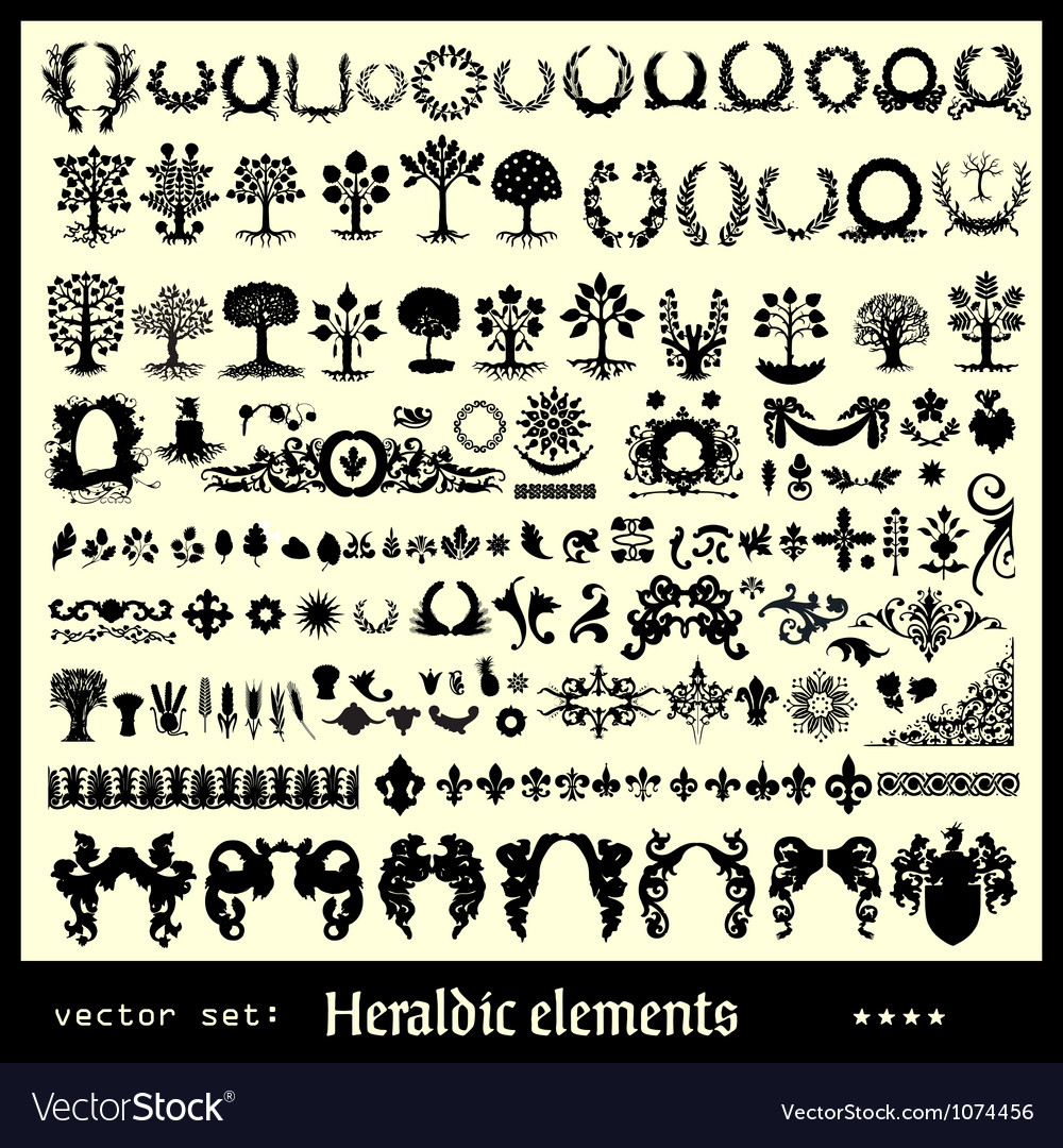 Heraldic elements floral vector