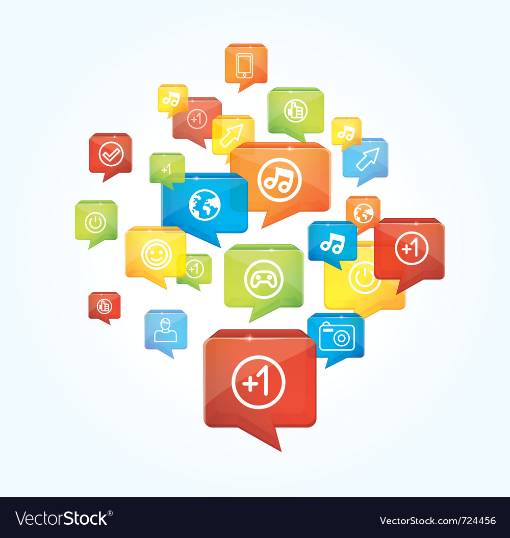 Social media background with speech bubbles - vector