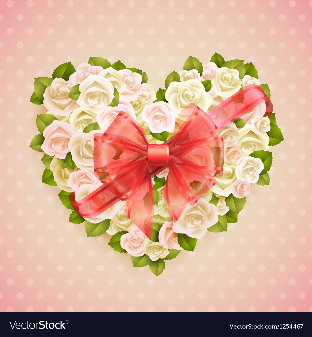 White roses heart vector