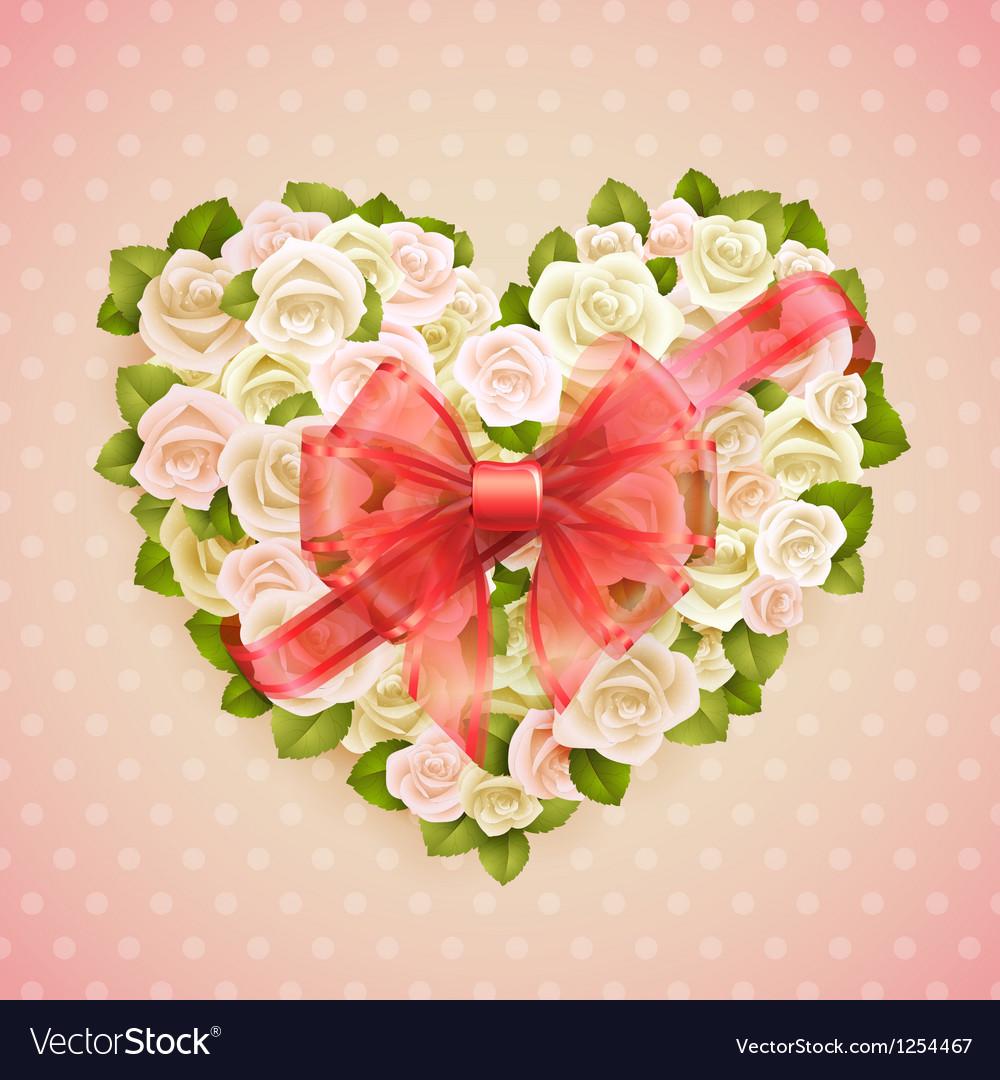 White roses heart vector