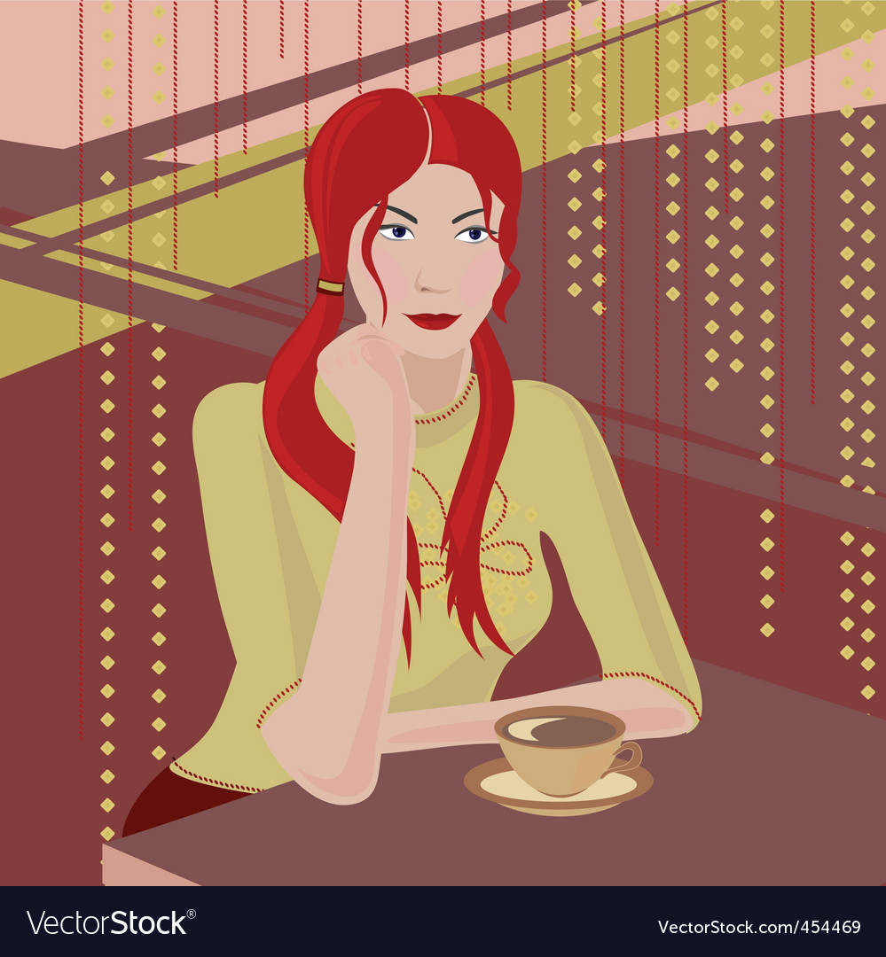 Girl with a coffee cup vector