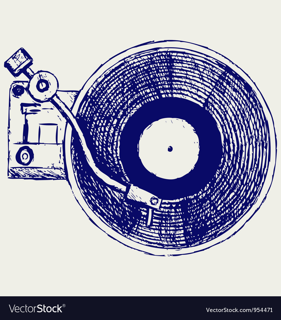 Record player vinyl record vector