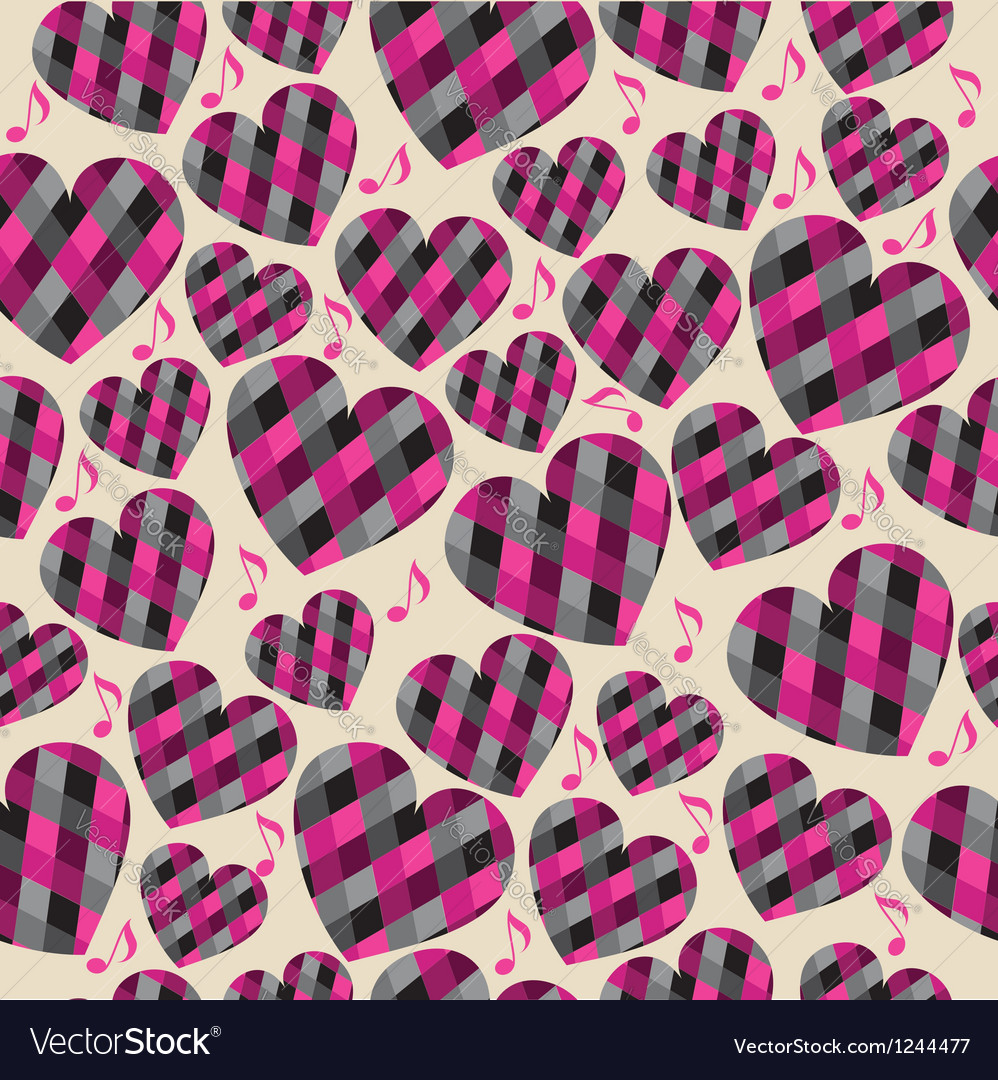 Pink hearts seamless pattern vector