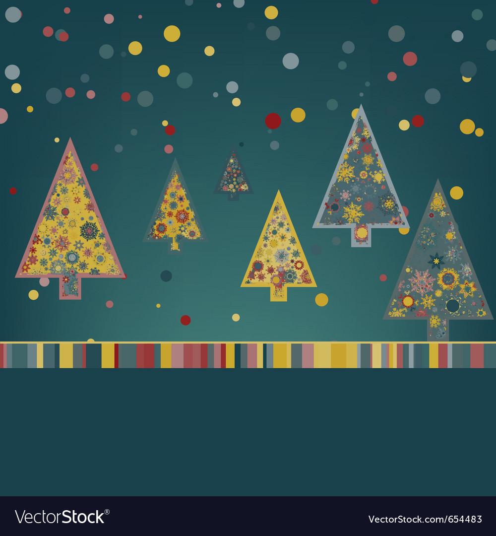 Retro christmas card template vector