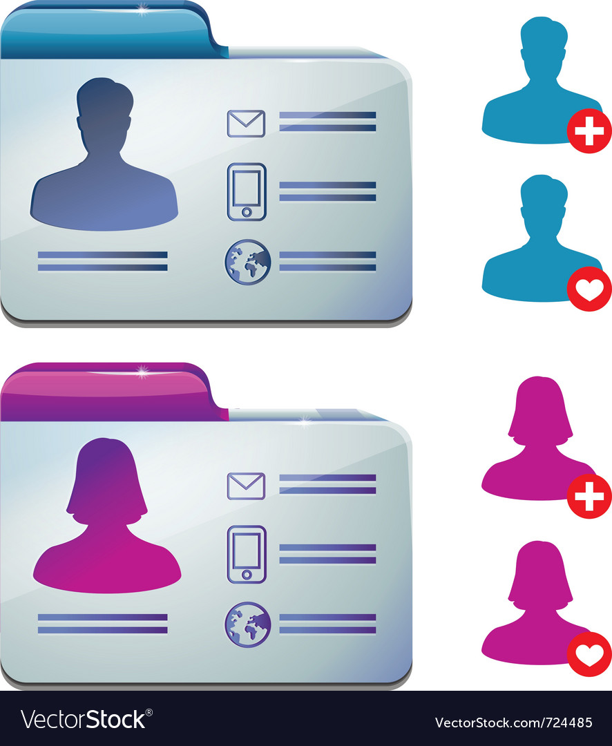 Female and male profile for social media - vector