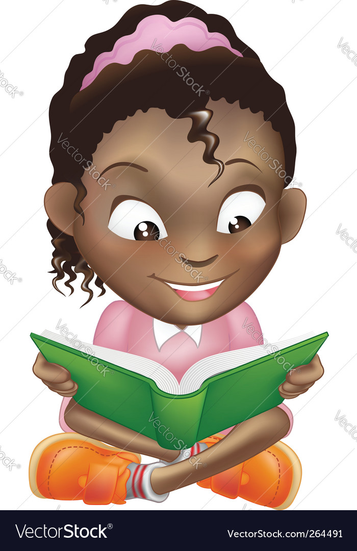 Girl reading book vector