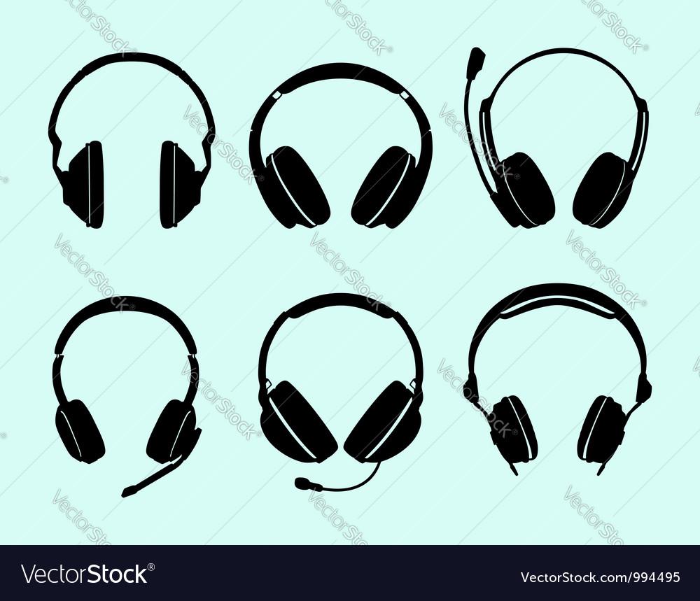 Set of headphones vector