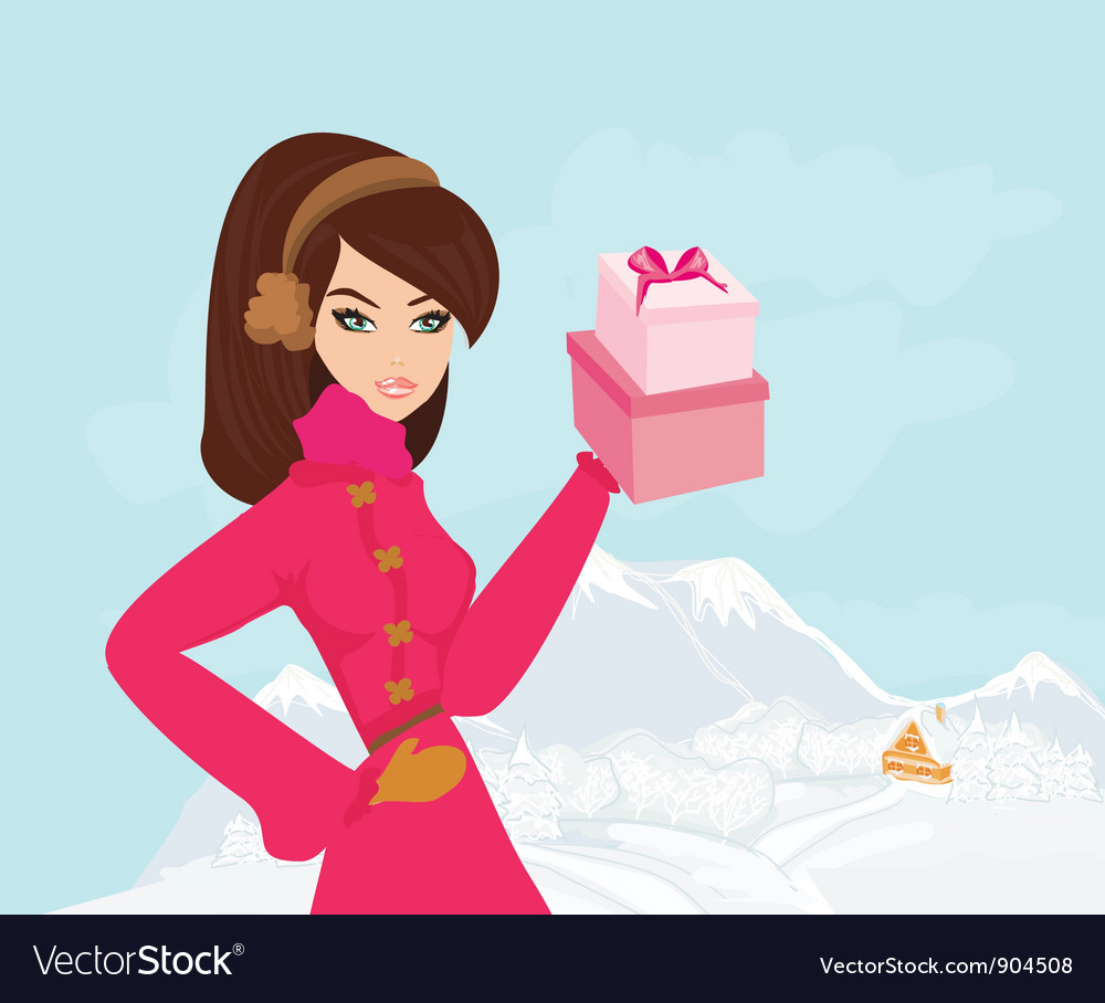 Free fashion shopping girl with gift box vector