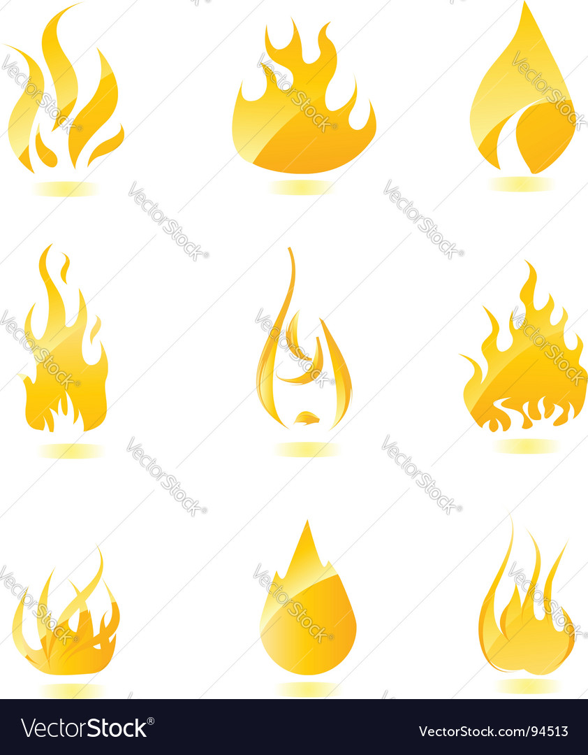 Glossy fire icons big vector