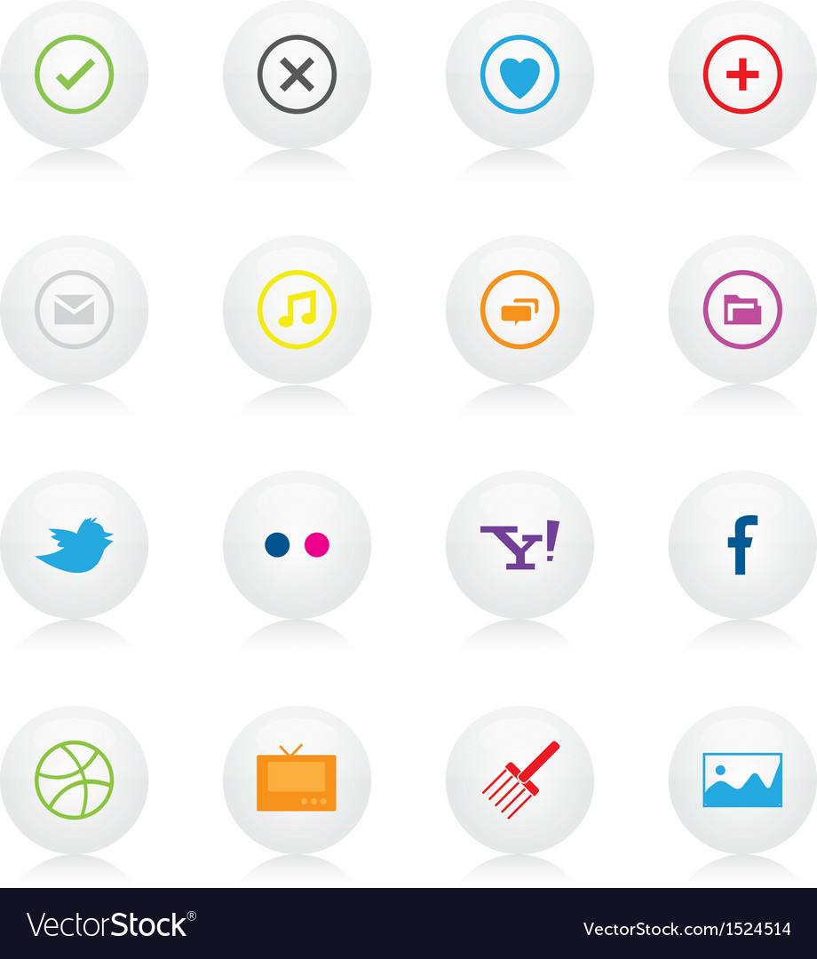 Social and basic icons vector