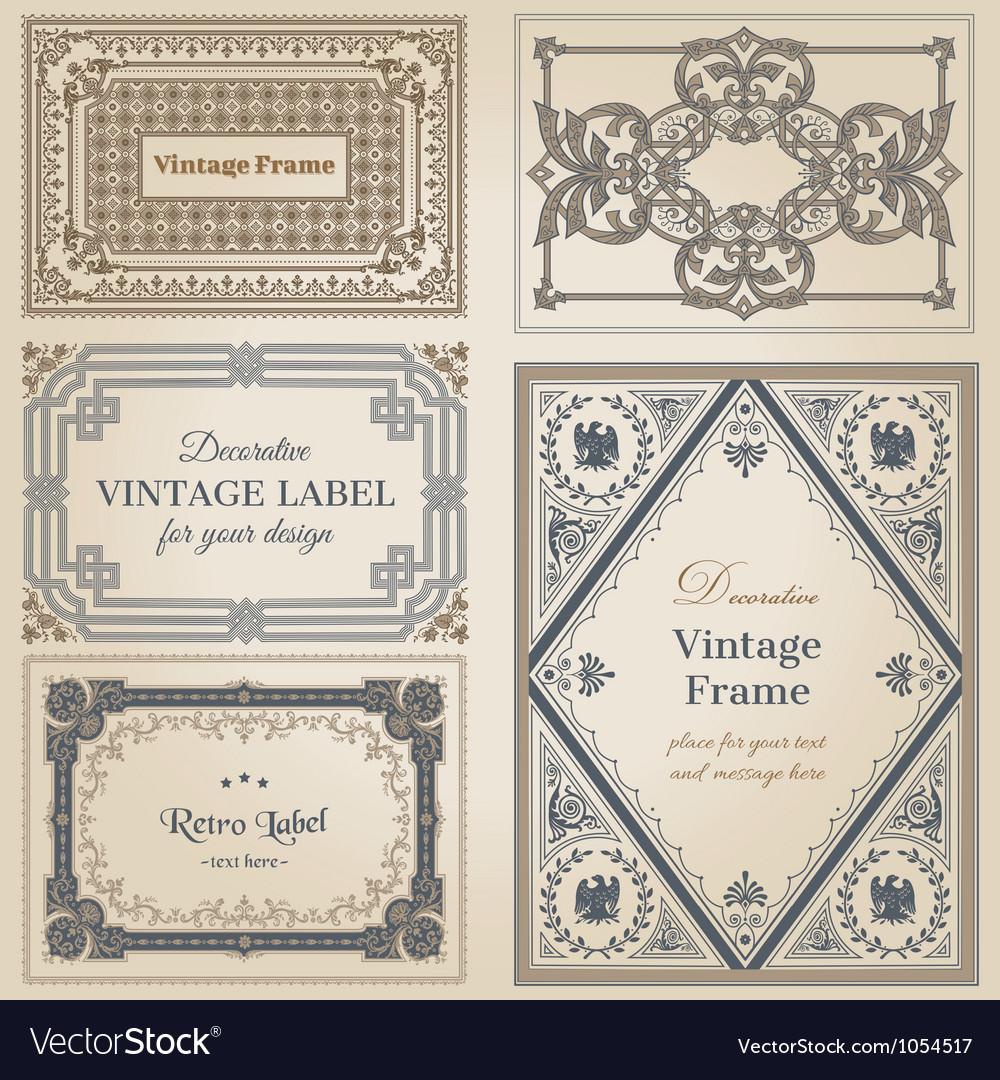 Vintage frames and design elements vector