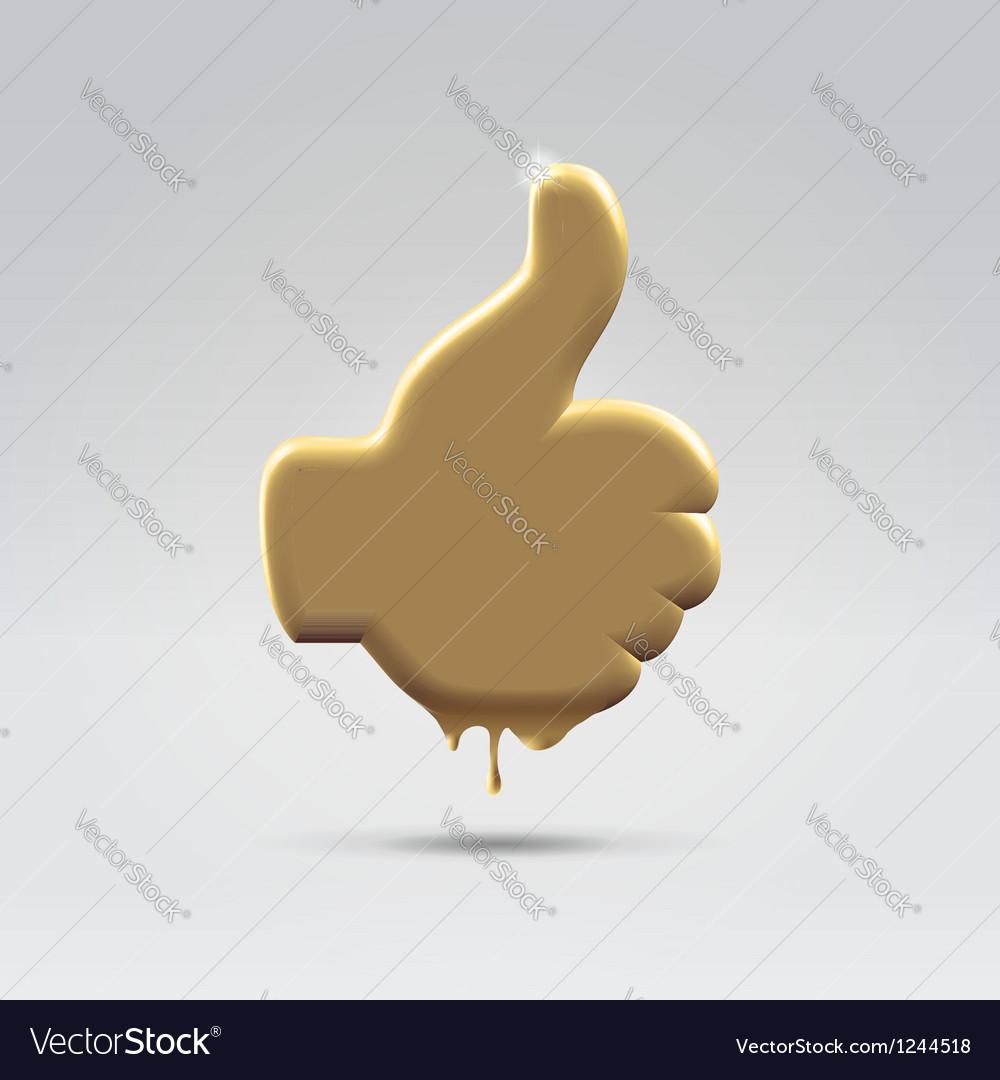 Golden melting like thumb hand vector