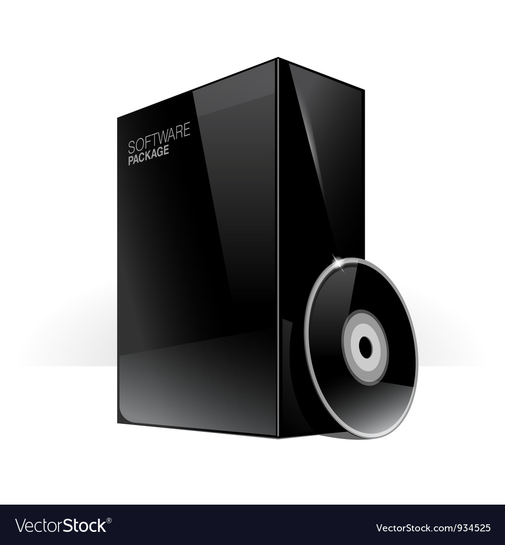 Black glossy package box vector