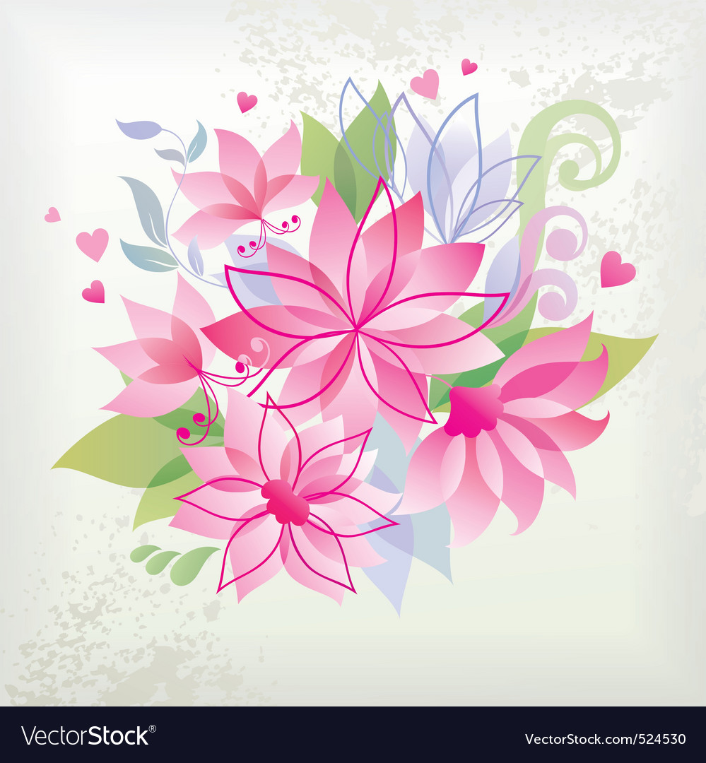 Pink flower with heart vector