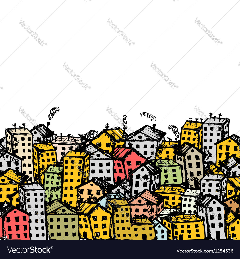 City sketch background for your design vector