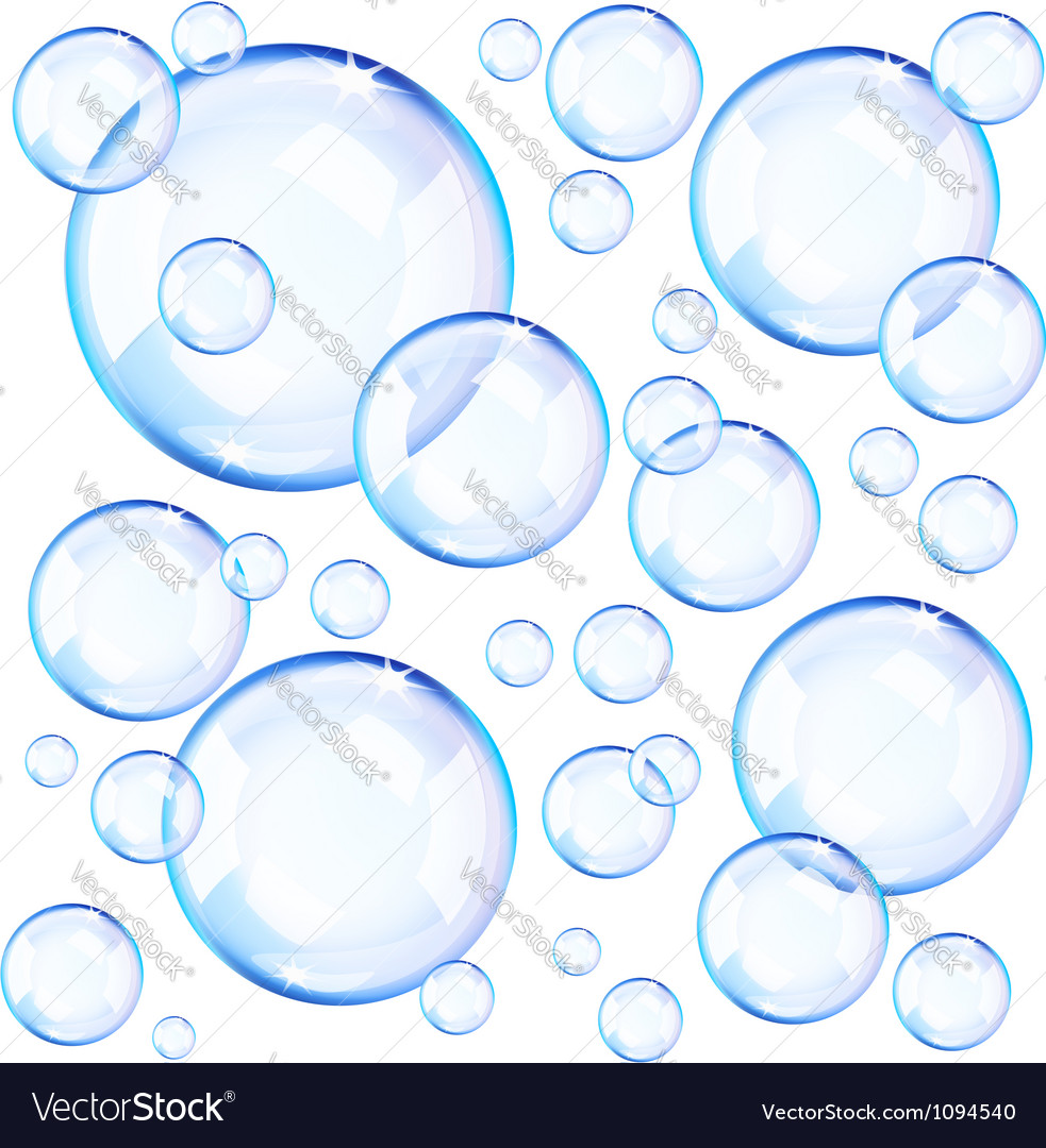 Blue soap bubbles vector