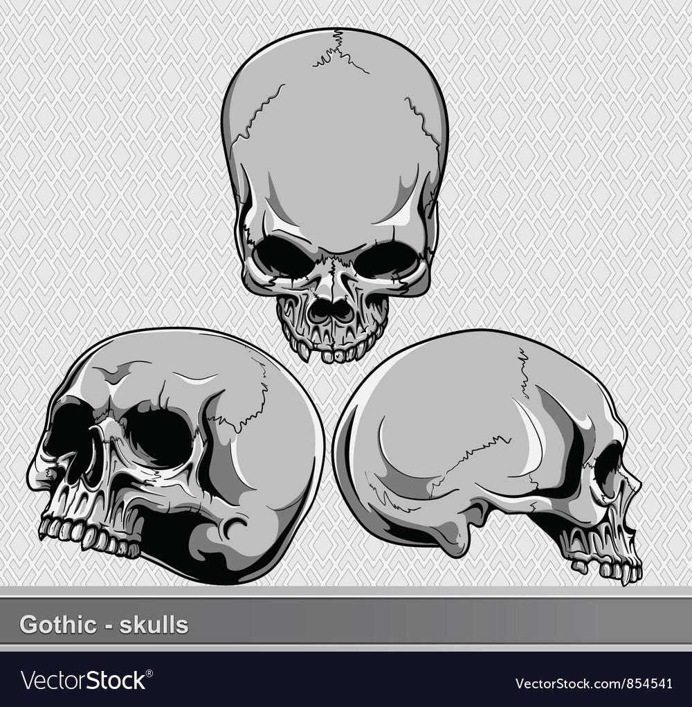Vintage skulls set vector
