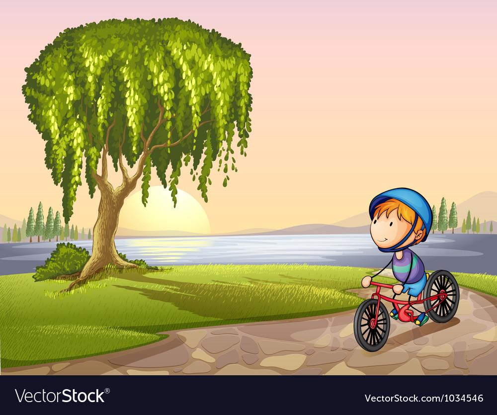 Boy in park vector