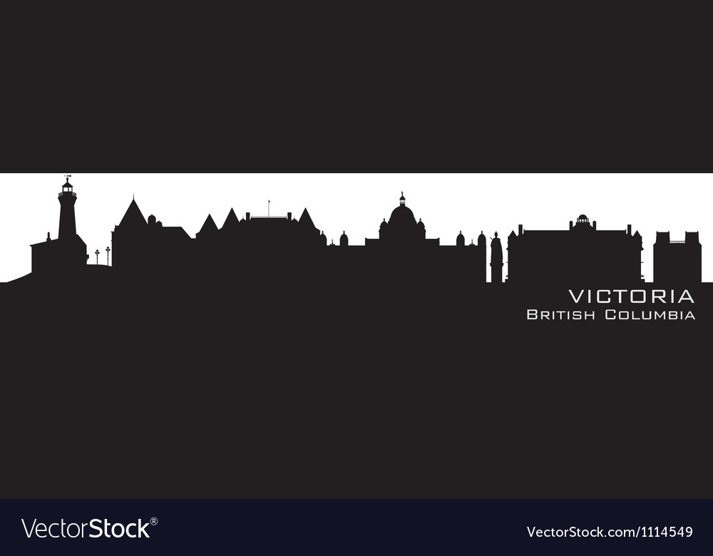 Victoria canada skyline detailed silhouette vector