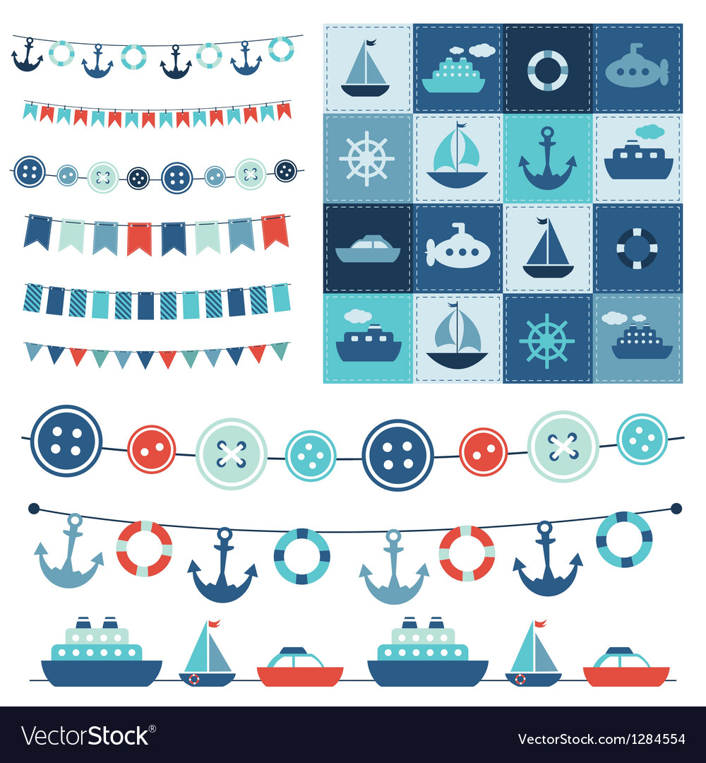 Sea theme garland and patchwork vector