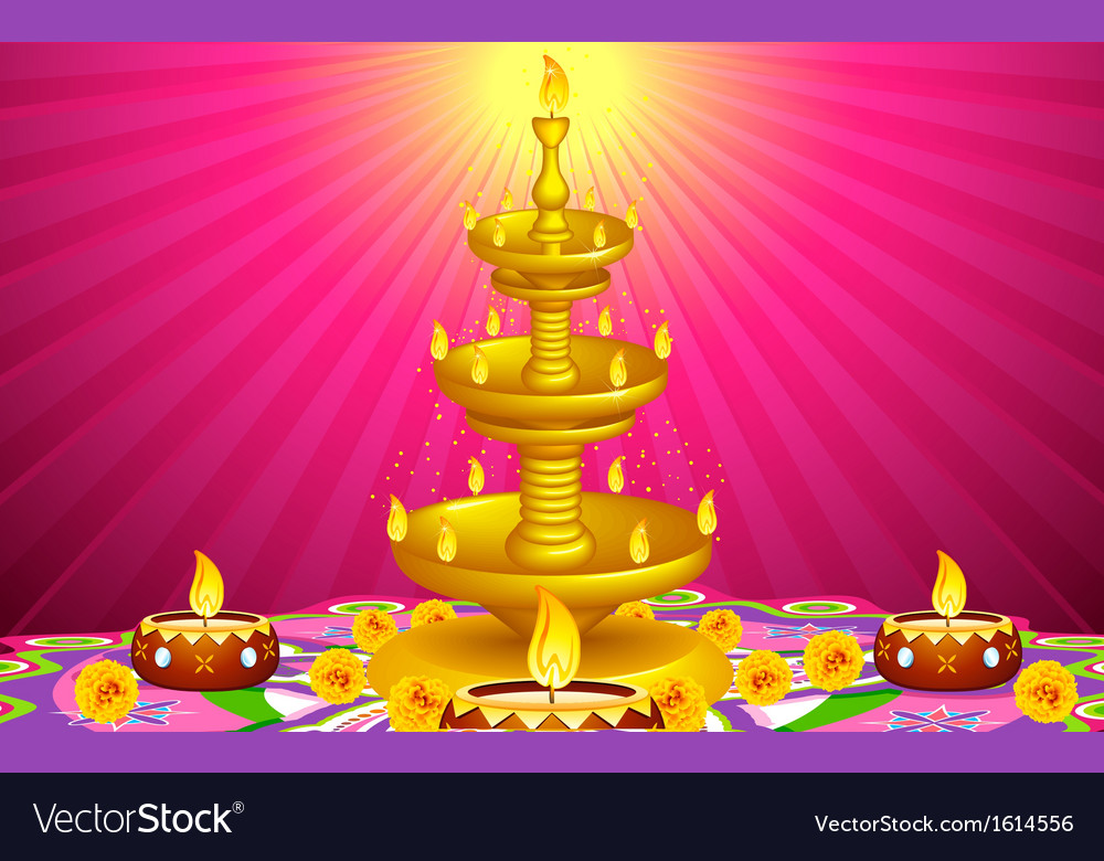 Golden diya stand vector