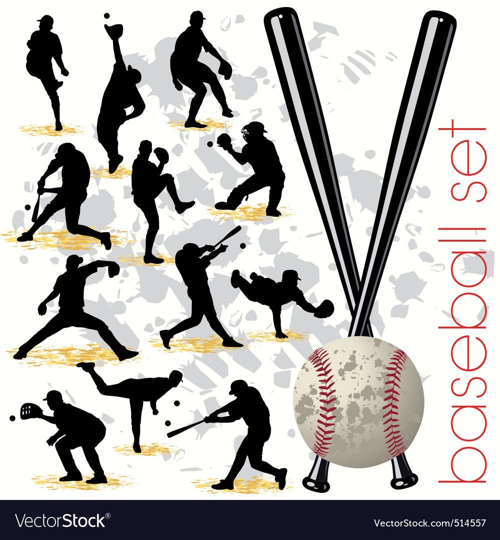 Baseball silhouettes vector