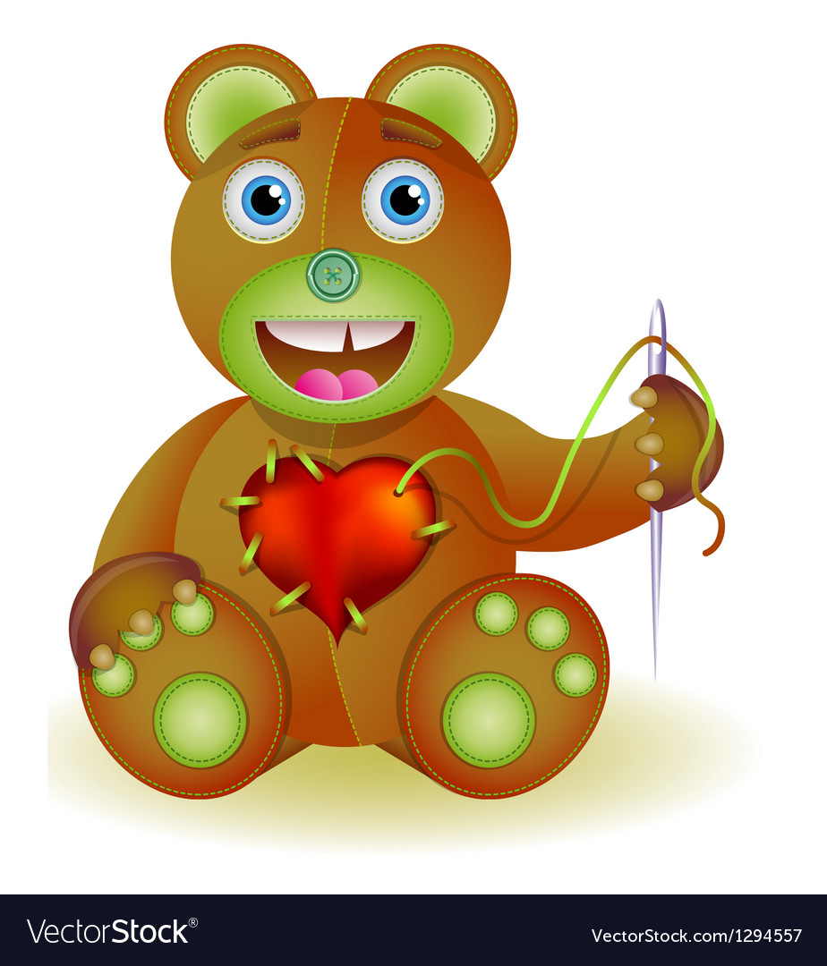 Bear toy with heart vector