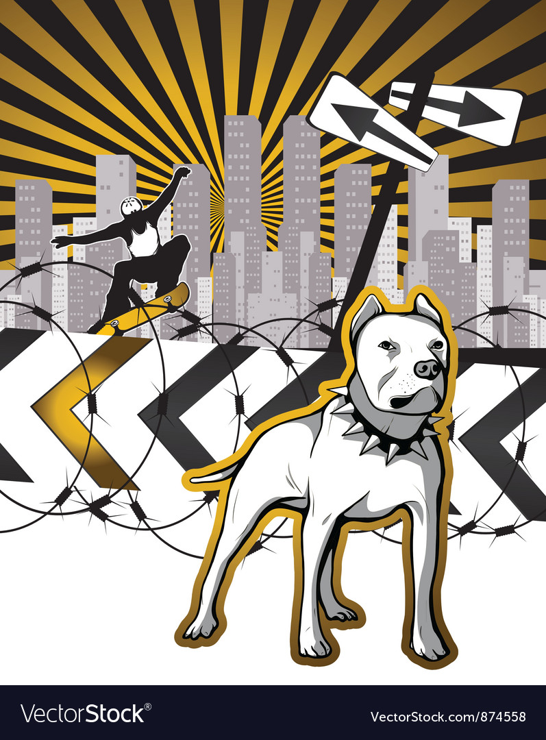Urban background with skater and dog vector