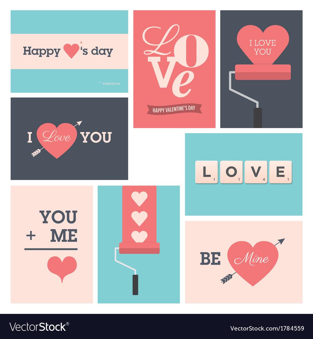 Set valentine cards vector