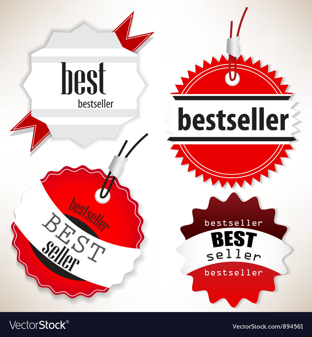 Bestseller red labels set vector