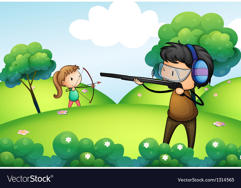 A hill with a boy and a girl practicing vector
