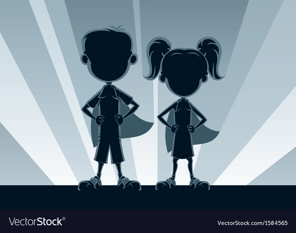 Superkids silhouettes vector