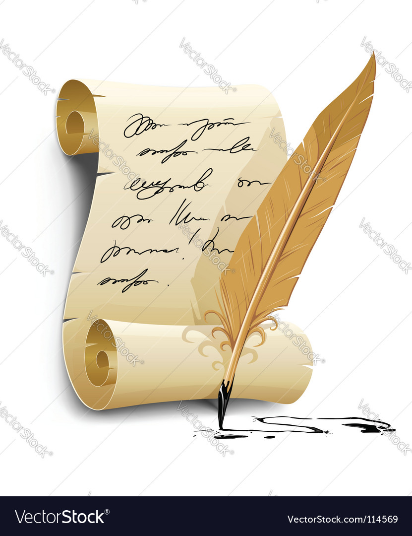 Script with ink feather pen vector