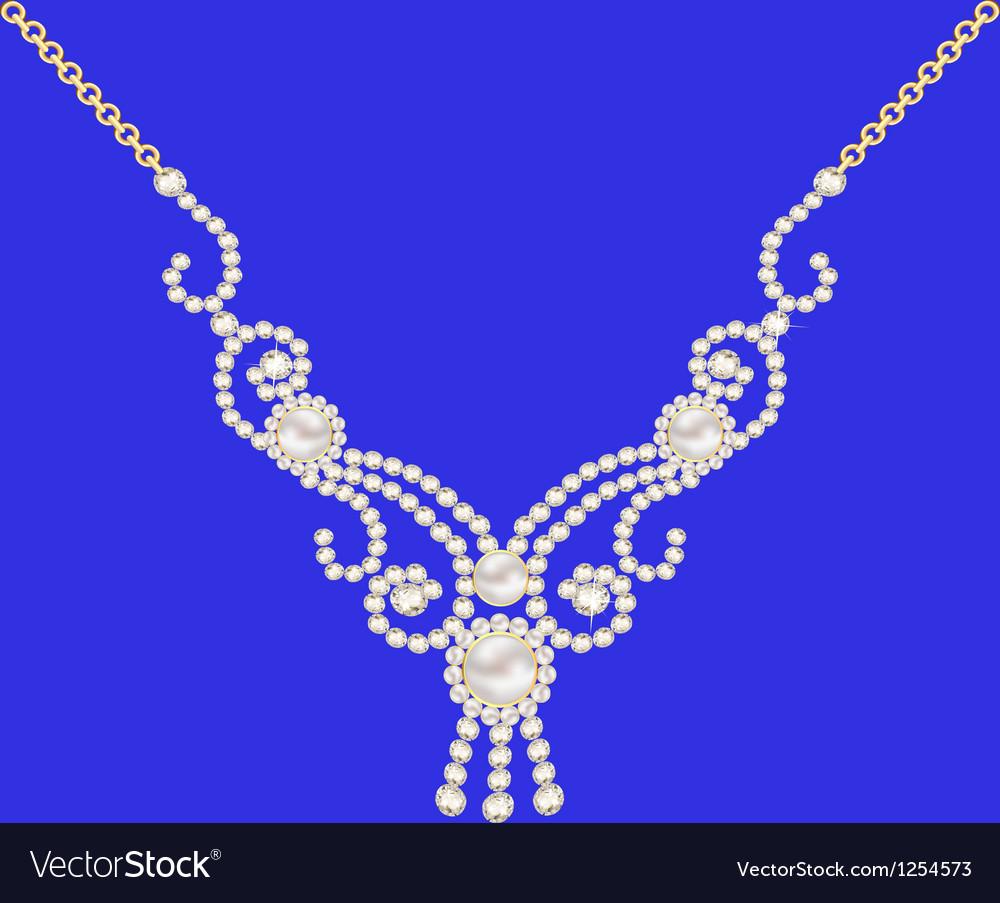 Necklace women for marriage with pearls and precio vector
