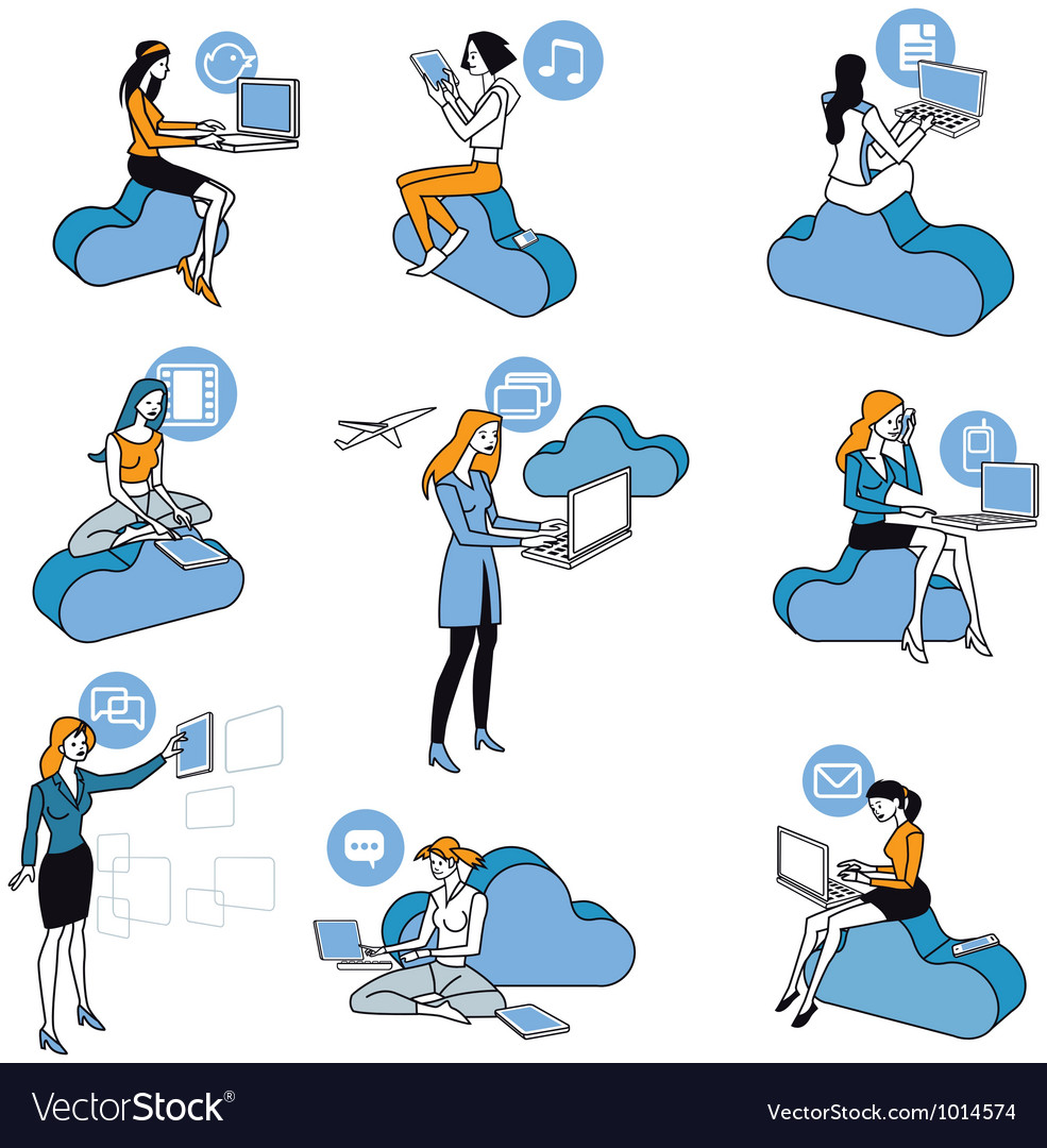 Cloud computing blue girls set vector